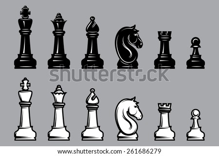 vector sets of black and white chess with part of the chessboard - stock vector