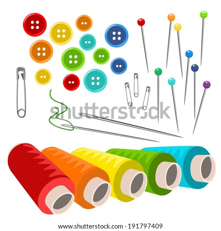 Vector sewing accessories isolated on white  - stock vector