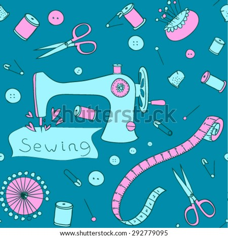 Vector Sewing and needlework background