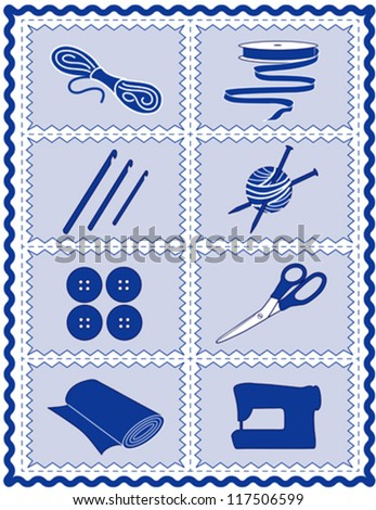 vector – Sewing, Craft Tools for knit, crochet, tailoring, fashion, quilting, do it yourself hobbies: needles, hooks, yarn, button, scissors, machine, ribbon, cloth, blue rick rack frame border. EPS8. - stock vector
