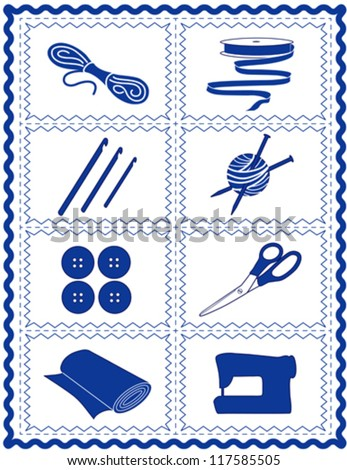 vector – Sewing, Craft Tools for knit, crochet, tailoring, fashion, quilting, do it yourself hobbies: needles, hooks, yarn, buttons, scissors, machine, ribbons, cloth, blue rick rack frame. EPS8. - stock vector