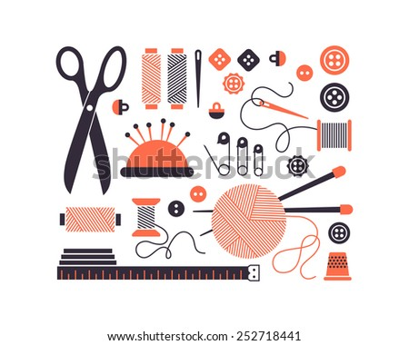 Vector sewing equipment and needlework icons set. - stock vector