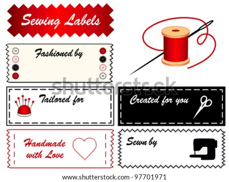 vector - Sewing Labels with copy space for sewing, tailoring, fashion, couture, modeling, dressmaking, do it yourself crafts: needle, thread, scissors, pincushion, buttons, machine, heart, love, EPS8. - stock vector