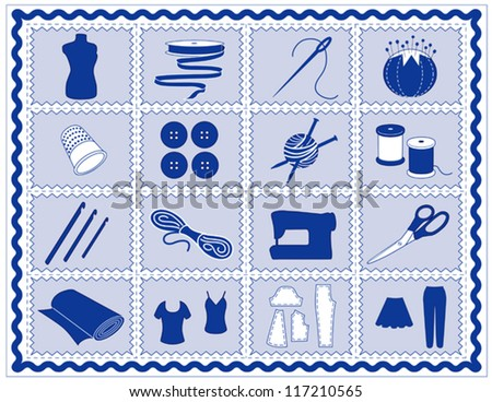 vector -Sewing Tools: fashion model, needle, thread, scissors, yarn, ribbon, pincushion, for sewing, tailoring, needlework, quilting, crochet, craft, do it yourself hobbies, blue rick rack frame. EPS8 - stock vector