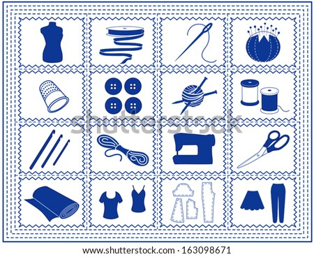vector - Sewing tools for tailoring, dressmaking, needlework, quilting, darning, textile arts, knit, crochet, do it yourself fashion crafts, hobbies,. Blue stitch border frame. EPS8 compatible. - stock vector