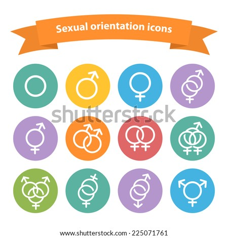Vector sexual orientation white web icons,symbol,sign in flat style isolated on a white background - stock vector