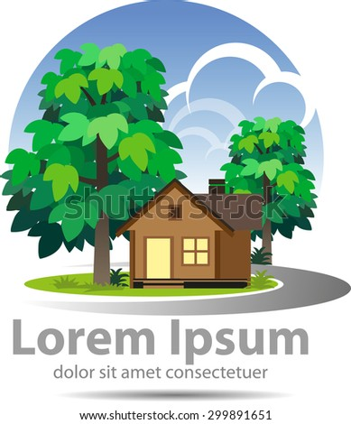Vector shape of a tree, house, jungle, as a symbol of a log cabin or a property company logo