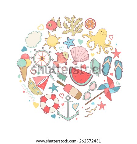 Vector shape of circle with cute cartoon summer icons and text love sea, stars, fishes, ships and other sea beach elements - stock vector