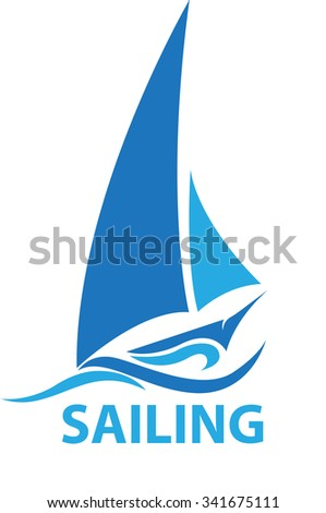 Vector shape sailing boat for logo or symbol shipping company