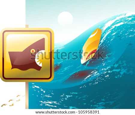 Vector shark warning sign and an abandoned surfboard, its owner probably killed by a shark - stock vector