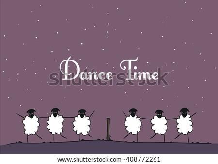 Vector sheep - Dance Time - stock vector