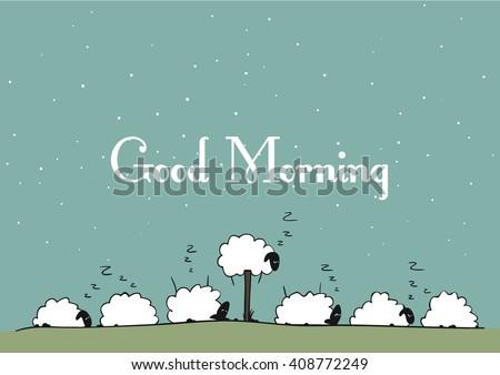 Vector sheep - Good Morning - stock vector