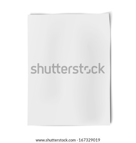 Vector sheet of white paper isolated on white background - stock vector
