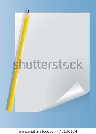 vector sheet with a pencil - stock vector
