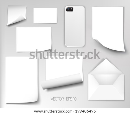 Vector sheets of paper wrapped envelope cover from the phone corporate style template design - stock vector
