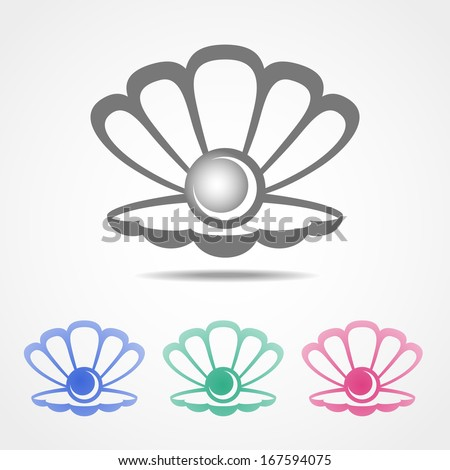 Vector shell icon with a pearl inside in different colors - stock vector