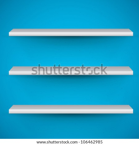vector shelves on blue background - stock vector