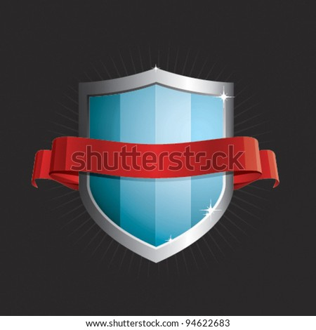 Vector Shield and Ribbon - stock vector