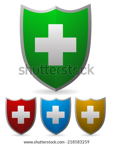 Vector shield elements with cross symbol. First-aid, healthcare or protection, defense concepts - stock vector