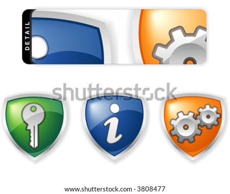 Vector shield icon set for web or application interface - stock vector