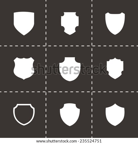 Vector shield icon set on black background - stock vector