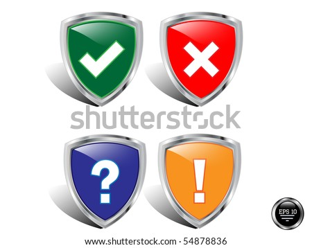 vector shields icon for web. - stock vector