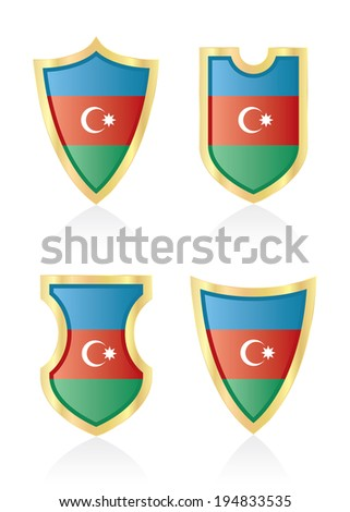 Vector shields with flag of Azerbaijan.