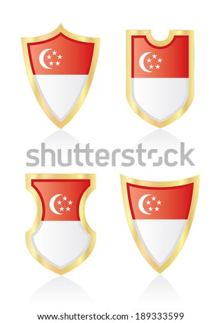 Vector shields with flag of Singapore. - stock vector