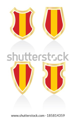 Vector shields with Spanish flag. - stock vector