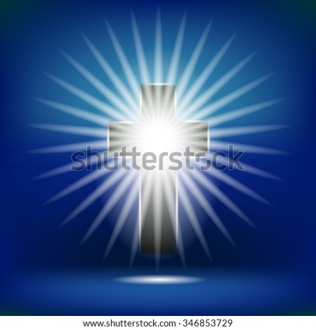 Vector Shining Cross Isolated on Soft Blue Background. Rasiance of Cross - stock vector