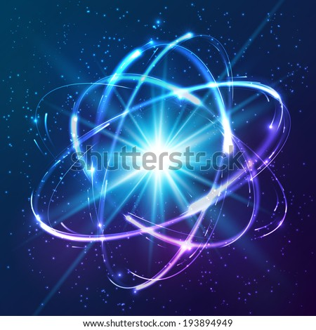 Vector shining neon lights atom model - stock vector