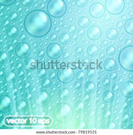 vector shiny background with realistic water drops