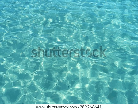 Vector shiny blue ocean clean water. Tropical realistic traced summer image. Vector illustration can be used for web design, surface textures, summer posters, trip and vacations cards design. - stock vector