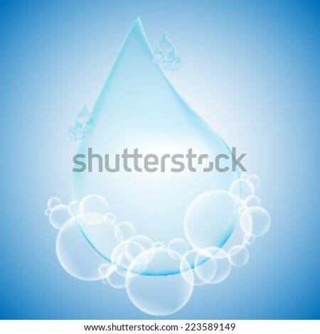 Vector Shiny Blue Shiny Water Drop and Bubbles on the Blue Background . Logo Design .  - stock vector