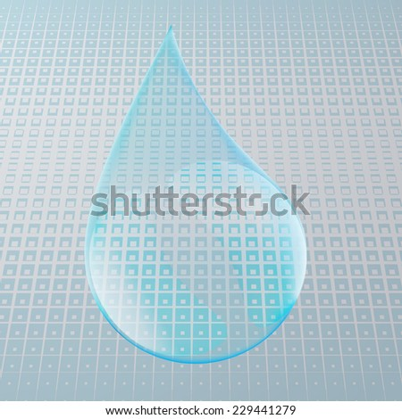 Vector Shiny Blue Water Drop on the Blue Background . Logo Design .  - stock vector