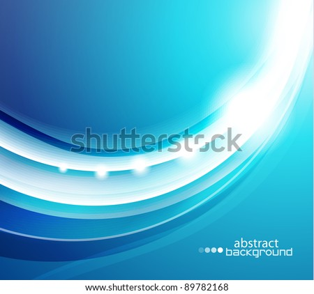Vector shiny blue wave abstract background