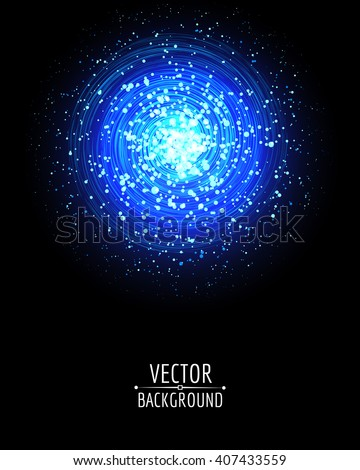 Vector shiny bright glowing .On dark background. Cosmic illustration. - stock vector