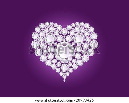 Vector shiny diamond heart on purple background - stock vector