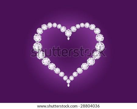 Vector shiny diamond heart on violet background - stock vector