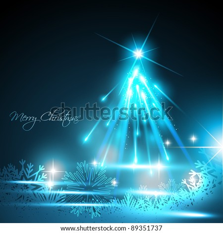 vector shiny glowing christmas tree background - stock vector