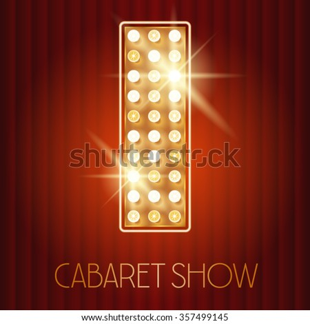 Vector shiny gold lamp alphabet in cabaret show style. Letter I - stock vector
