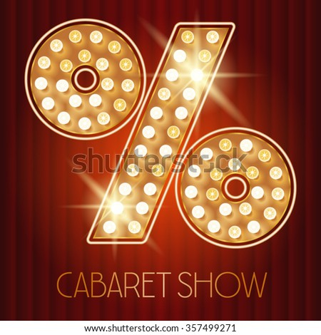 Vector shiny gold lamp alphabet in cabaret show style. Symbol 4 - stock vector