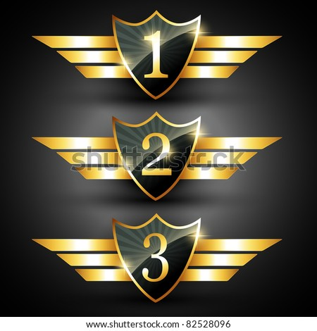 vector shiny golden ranking label - stock vector