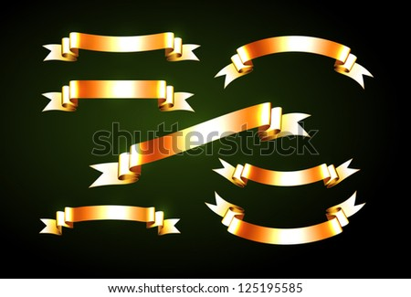 Vector shiny golden ribbons collection - stock vector