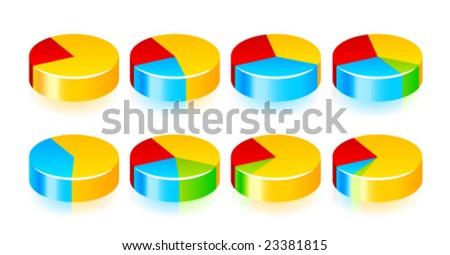 Vector shiny pie diagrams for web. - stock vector