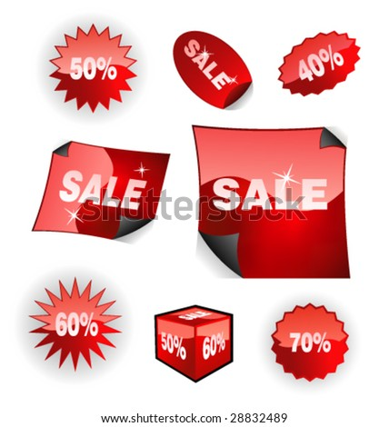 VECTOR Shiny Red Sales Icon Set