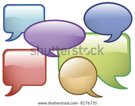 Vector Shiny Speech Bubbles Glass effect Icons - stock vector
