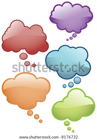 Vector Shiny Thought Bubbles Glass effect Icons - stock vector