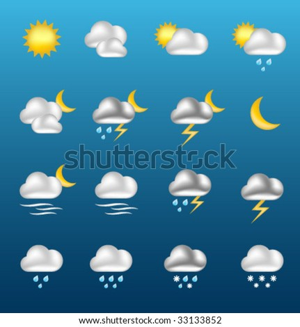 Vector shiny WEATHER icons [01] - stock vector