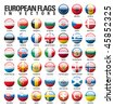 vector shiny web buttons with european country flags - stock